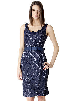 JS Boutique Sleeveless Allover Beaded Lace Belted Dress
