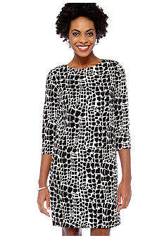 Tahari ASL Animal Print Shift Dress