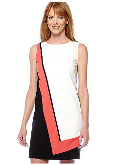Tahari ASL Sleeveless Colorblock Shift Dress