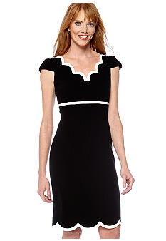 Tahari ASL Cap Sleeved Sweetheart Neck Dress