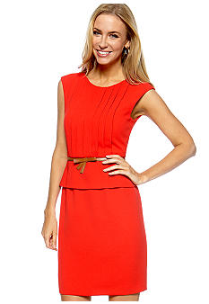 Tahari ASL Cap Sleeve Peplum Belted Sheath Dress