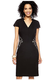 Tahari ASL Cap Sleeved V-Neck Sheath Dress
