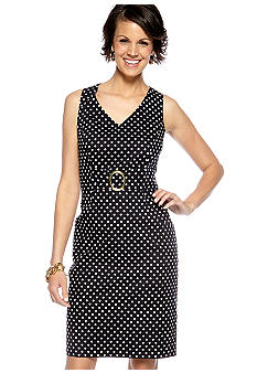 Tahari ASL Sleeveless Polka Dot Dress