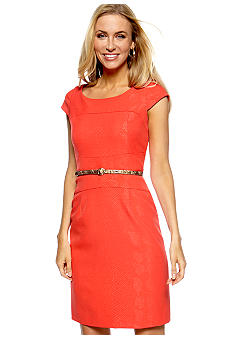 Tahari ASL Cap Sleeve Belted Sheath Dress