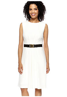 Tahari ASL Sleeveless Pleated Crepe Belted Dress