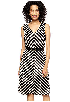 Tahari ASL Sleeveless Diagonal Stripe V-Neck Belted Dress