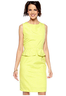 Tahari ASL Sleeveless Jacquard Peplum Dress