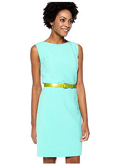 Tahari ASL Sleeveless Belted Sheath Dress