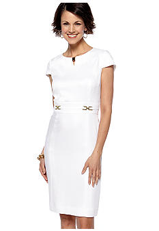 Tahari ASL Cap-Sleeved Jacquard Sheath Dress
