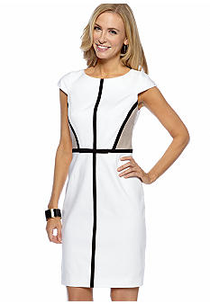 Tahari ASL Cap-Sleeved Colorblock Sheath Dress