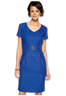 Tahari ASL Short Sleeve Sheath Dress