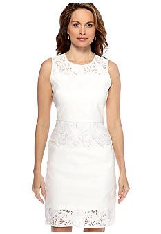 Tahari ASL Sleeveless Linen and Lace Sheath Dress