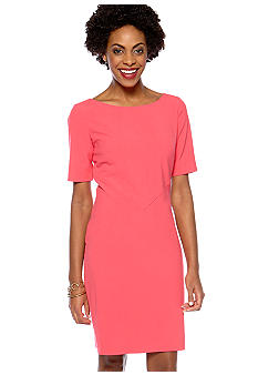 Tahari ASL Elbow-Sleeved Boat Neck Dress