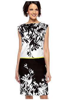 Tahari ASL Sleeveless Printed Shift Dress