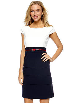 Tahari ASL Cap Sleeve Colorblock Belted Sheath Dress