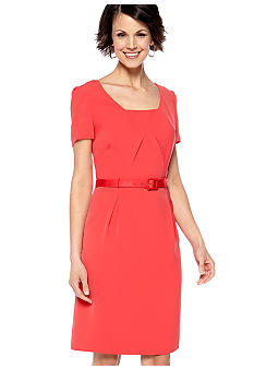 Tahari ASL Short-Sleeved Belted Sheath Dress