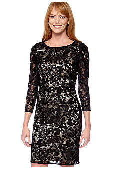 Tahari ASL Petite Sequin Stretch Lace Party Dress