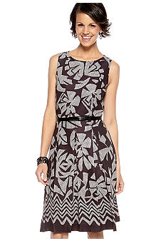 Tahari ASL Petite Sleeveless Fit and Flare Belted Dress