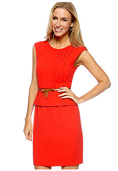 Tahari ASL Petite Cap Sleeve Peplum Belted Sheath Dress