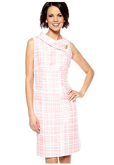 Tahari ASL Petite Sleeveless Jacquard Print Sheath Dress