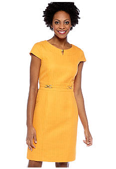 Tahari ASL Petite Cap-Sleeved Jacquard Sheath Dress