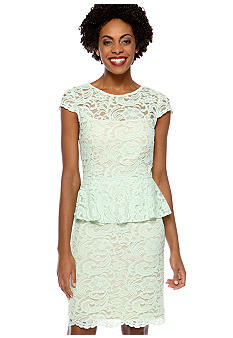 Tahari ASL Petite Cap-Sleeved Allover Lace Peplum Dress