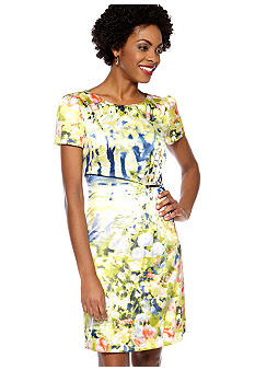 Tahari ASL Short Sleeve Printed Petite Sheath Dress