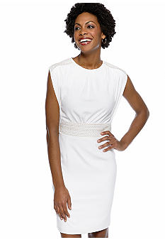 Tahari ASL Bat Sleeve Sheath Dress with Beaded Detail