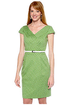 Tahari ASL Sleeveless Polka Dot Belted Sheath Dress