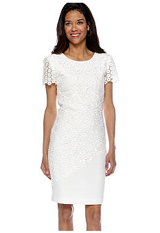 Tahari ASL Short-Sleeved Allover Lace Jacquard Sheath Dress