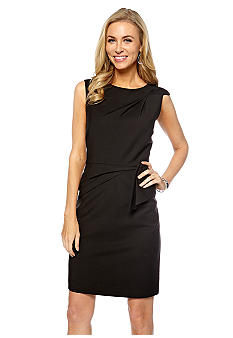 Tahari ASL Sleeveless Side Drape Peplum Sheath Dress