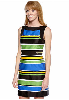 Tahari ASL Petite Sleeveless Striped Sheath Dress