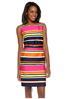 Tahari ASL Sleeveless Striped Belted Sheath Dress