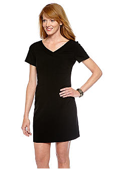 Tahari ASL Petite Short-Sleeved V-Neck Sheath Dress