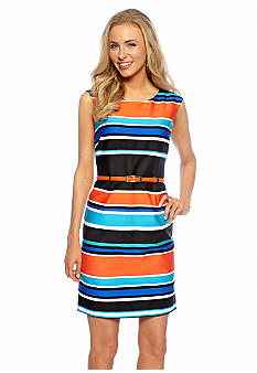 Tahari ASL Multi Stripe Belted Sheath Dress
