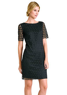 Tahari ASL Elbow-Sleeve Allover Lace Sheath Dress