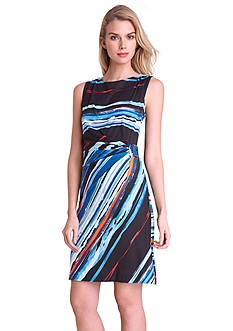 Tahari ASL Sleeveless Striped Sheath Dress