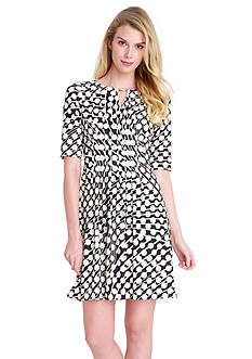 Tahari ASL Elbow Sleeve Printed Aline Dress