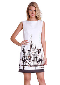 Tahari ASL Sleeveless Placed Print Sheath Dress