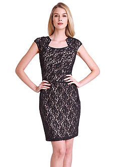 Tahari ASL Sleeveless Allover Lace Sheath Dress with Sequin