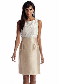 Tahari ASL Sleeveless Jacquard Shantung Sheath Dress