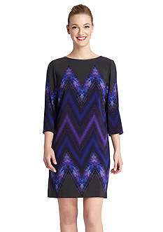 Tahari ASL Chevron Print Shift Dress