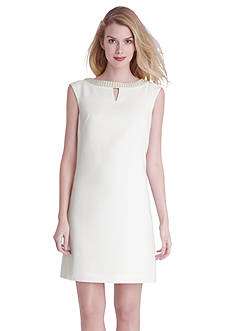 Tahari ASL Sleeveless Shift Dress with Embellished Neckline