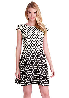 Tahari ASL Printed Dot Fit and Flare Dress