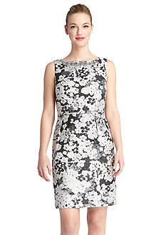 Tahari ASL Floral Jacquard Sheath Dress