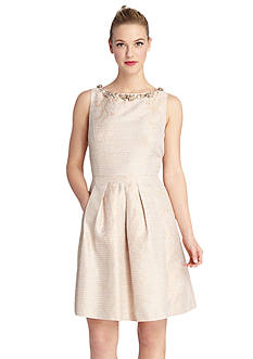 Tahari ASL Fit and Flare Dress with Pearl Neckline