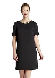 Tahari ASL Textured Knit Shift Dress with Embellished Neckline