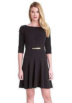 Tahari ASL Belted Fit and Flare Dress