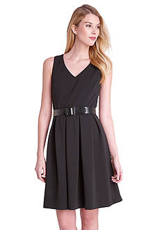 Tahari ASL Sleeveless Belted Fit and Flare Dress