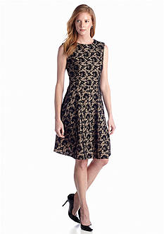 Tahari ASL Bonded Lace Fit-and-Flare Dress